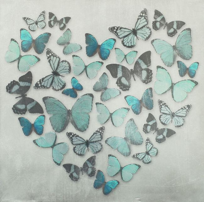 Teal Blue Metallic Butterfly Love Heart Canvas Wall Art Picture 57 With Regard To Butterflies Canvas Wall Art (Image 16 of 20)
