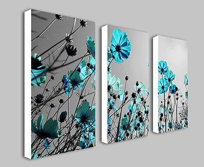 Teal Flowers Floral Split Panel Deep Framed Canvas Wall Art Print Within Duck Egg Canvas Wall Art (Image 18 of 20)