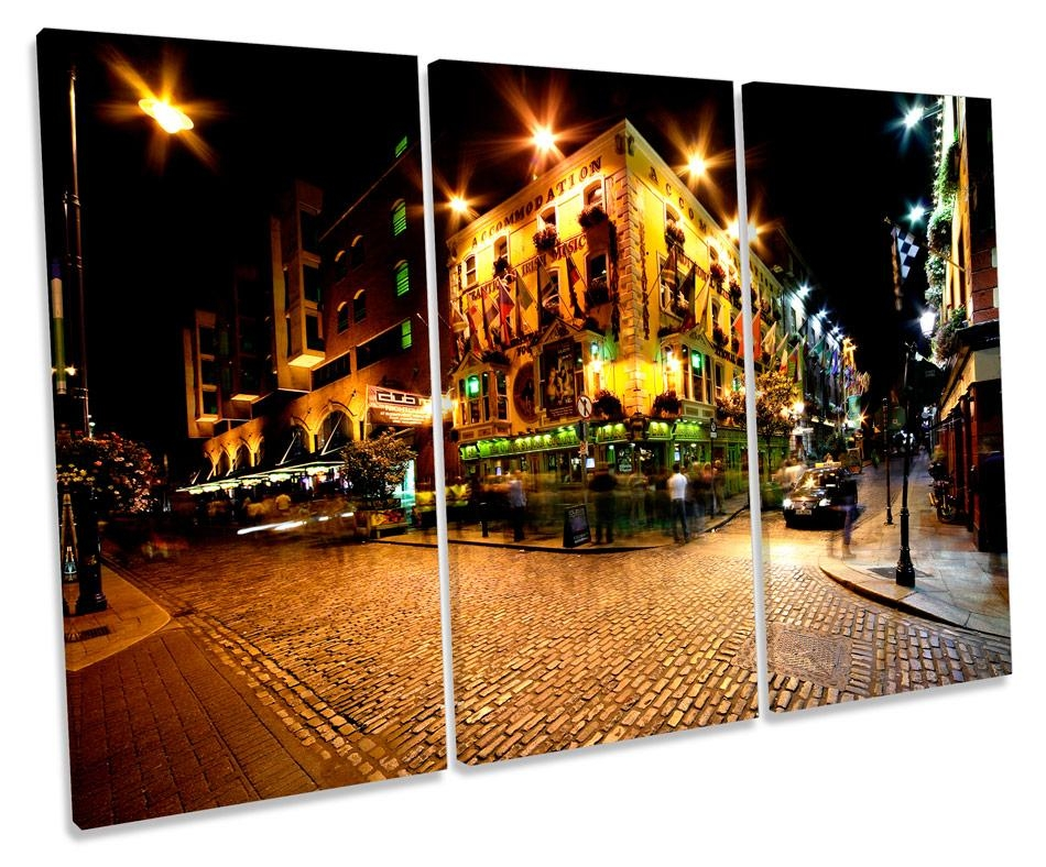 Temple Bar Ireland Dublin Canvas Wall Art Triple Box Frame Print With Regard To Dublin Canvas Wall Art (View 13 of 20)