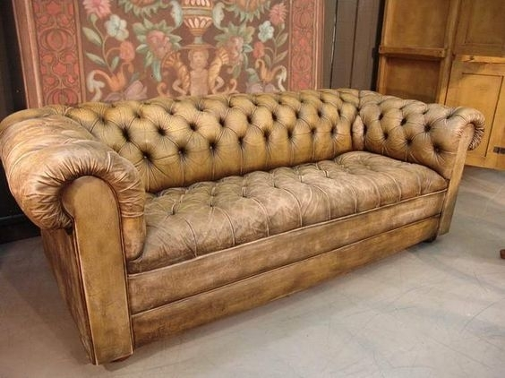 Terrific Brown Leather Chesterfield Sofa French Vintage Leather In Vintage Chesterfield Sofas (Image 7 of 10)