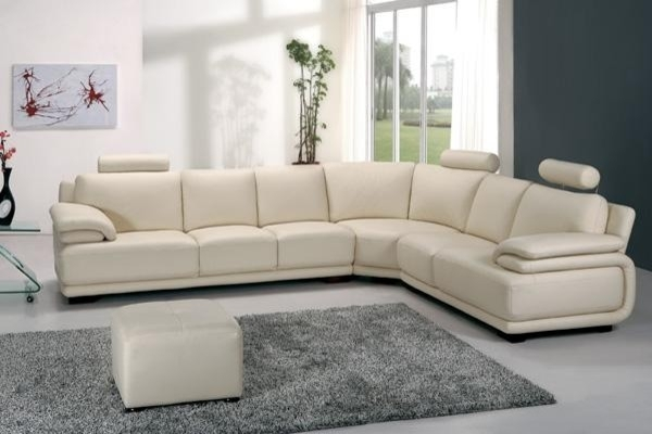 Terrific White Sofa Leather Modern Off White Leather Sectional Sofa Pertaining To Off White Leather Sofas (Image 10 of 10)