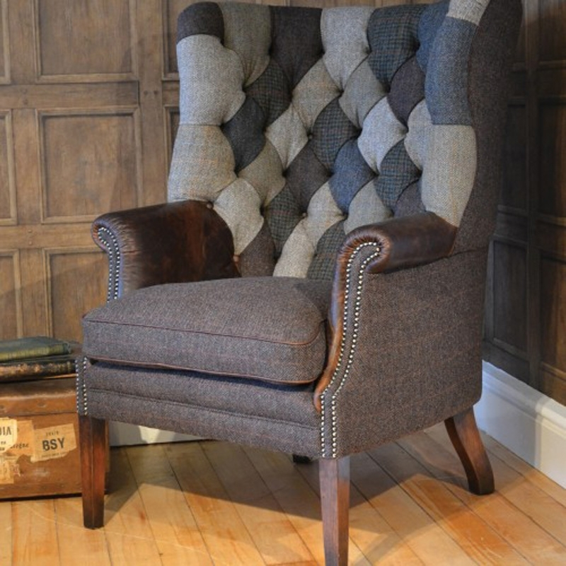 Tetrad Upholstery Mackensie Harris Tweed Chair Patchwork Inside Tweed Fabric Sofas (Image 10 of 10)