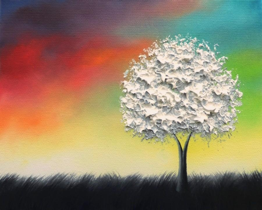 Textured White Tree Painting, Black And White Art, Colorful Within Rainbow Canvas Wall Art (View 10 of 20)