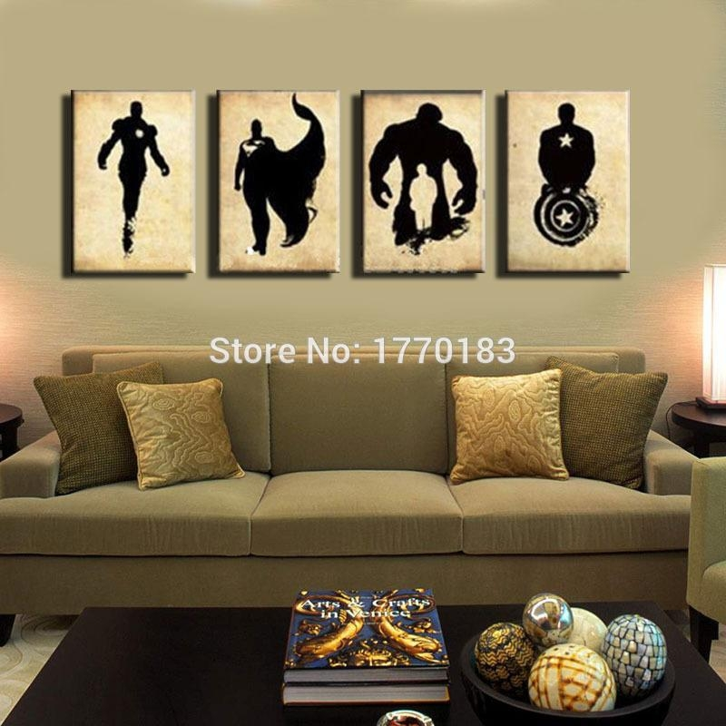 The Avengers! Abstract Handpainted Black Canvas Poster Painting For Marvel Canvas Wall Art (View 17 of 20)