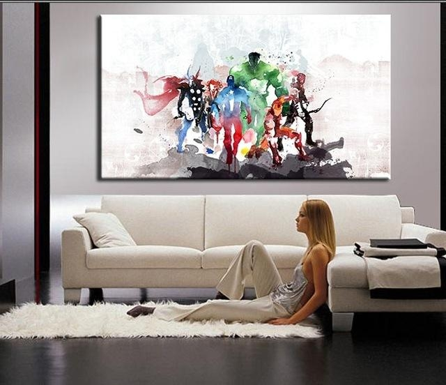 The Avengers Modern Art Canvas Wall Paintings Cuadros Decorativos Inside Modern Canvas Wall Art (Image 13 of 20)