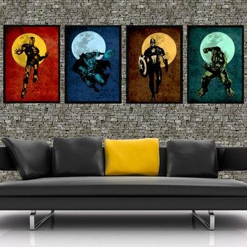 The Avengers – Original Super Hero Minimalist Art Movie Poster Inside Retro Canvas Wall Art (Image 18 of 20)