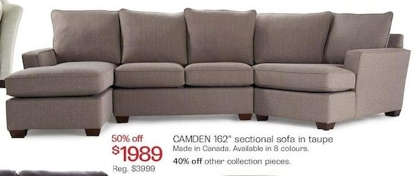 "The Bay: Camden 162"" Sectional Sofa In Taupe – Redflagdeals Pertaining To The Bay Sectional Sofas (View 9 of 10)"