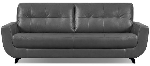 The Brick Sofia Vergara Collection Lena Genuine Leather Sofa – Grey With Regard To The Brick Leather Sofas (Image 10 of 10)