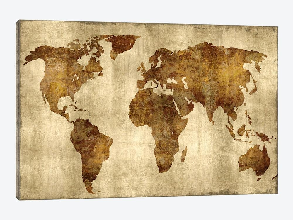 The World – Bronze On Gold Canvas Wall Artrussell Brennan Pertaining To Gold Canvas Wall Art (Image 17 of 20)