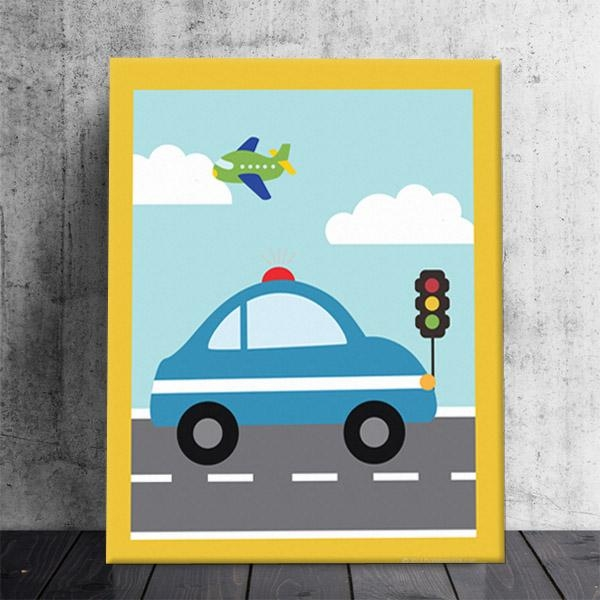 Things That Go Vroom! Boys Theme Kids Police Car Stretched Canvas With Cars Theme Canvas Wall Art (Image 17 of 20)