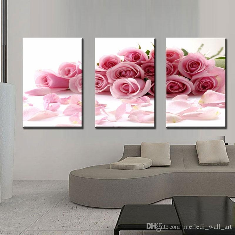 Three Panle Modern Wall Painting Pink Rose Canvas Wall Art Picture Throughout Roses Canvas Wall Art (View 8 of 20)