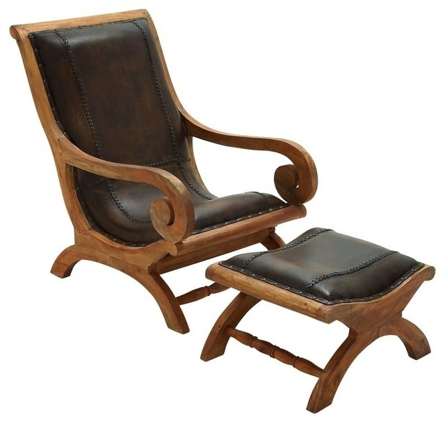 Timeless Wood Leather Chair Ottoman Set Of 2 Traditional Regarding Within Chairs With Ottoman (View 8 of 10)