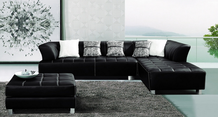 Top 7 Dark Leather Sectional Sofas – Cute Furniture Intended For Leather Sectionals With Chaise And Ottoman (Image 8 of 10)