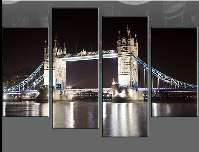 "Tower Bridge Night Time Reflections – Available In 40"" Split Panel Inside London Canvas Wall Art (Image 18 of 20)"