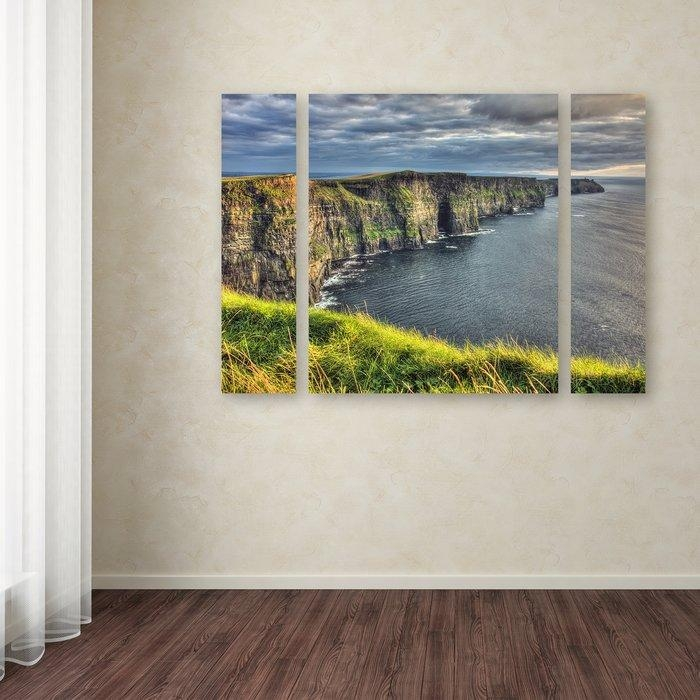 Trademark Art 'cliffs Of Moher Ireland'pierre Leclerc 3 Piece Pertaining To Ireland Canvas Wall Art (View 5 of 20)