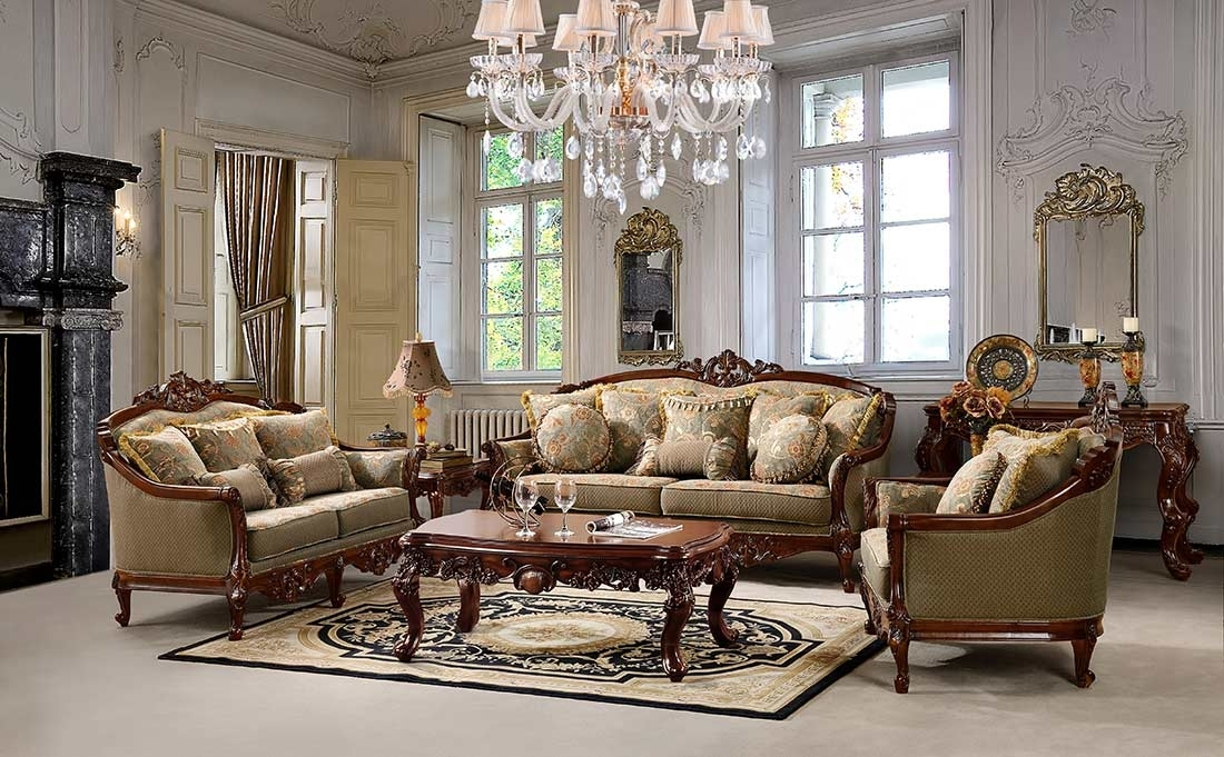 Traditional Chenille Fabric Sofa Hd 90 | Traditional Sofas Inside Traditional Sofas And Chairs (Image 6 of 10)