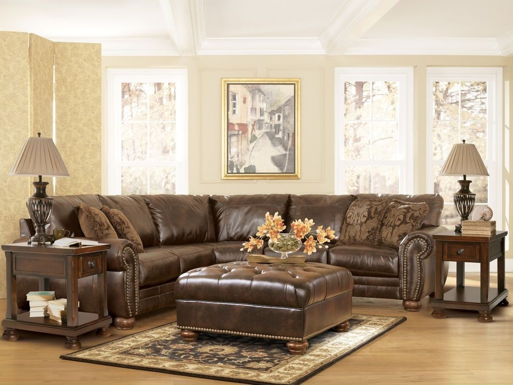 Traditional Dark Brown Bonded Leather Sectional Couch Living Room With Regard To Jackson Ms Sectional Sofas (Image 9 of 10)