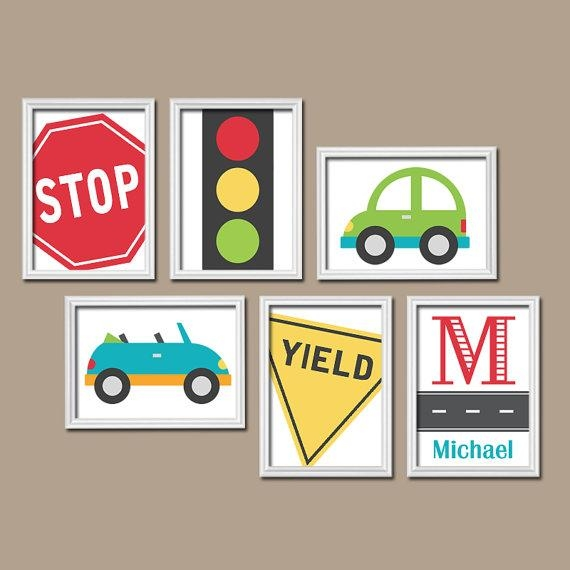 Transportation Cars Road Sign Custom Personalized Boy Name Inside Cars Theme Canvas Wall Art (Image 18 of 20)