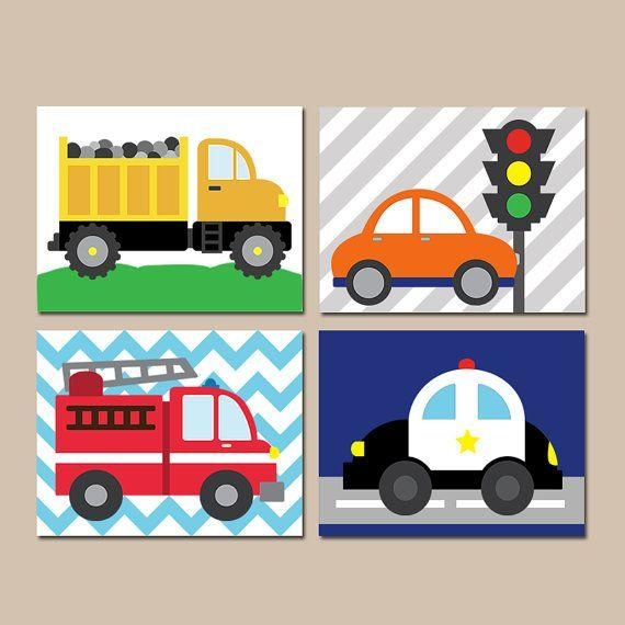 Transportation Wall Art  City Theme  Cars Baby Nursery Decor  Big For Cars Theme Canvas Wall Art (Image 19 of 20)