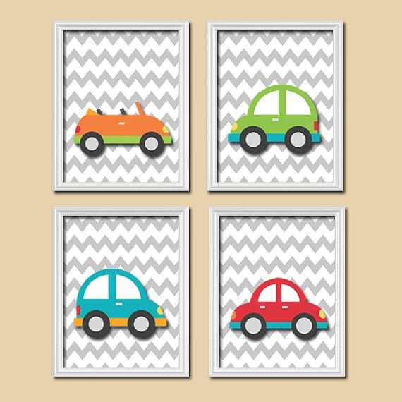 Transportation Wall Art  City Theme  Cars Baby Nursery Decor  Big In Cars Theme Canvas Wall Art (Image 20 of 20)