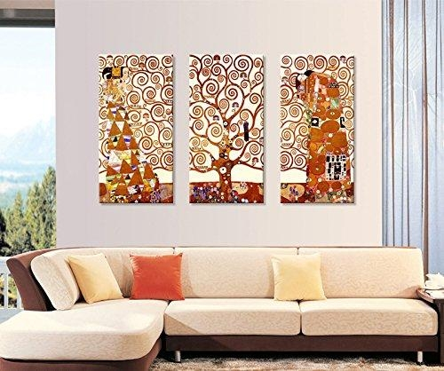 Tree Of Life Canvas Printgustav Klimt|3 Panels Abstract Canvas Intended For Canvas Wall Art Of Trees (Image 13 of 20)