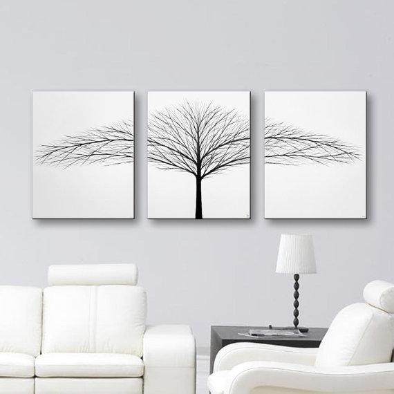 Tree Of Life Painting Wall Art Bedroom Wall Decor Black And White Intended For Black And White Canvas Wall Art (Image 14 of 20)
