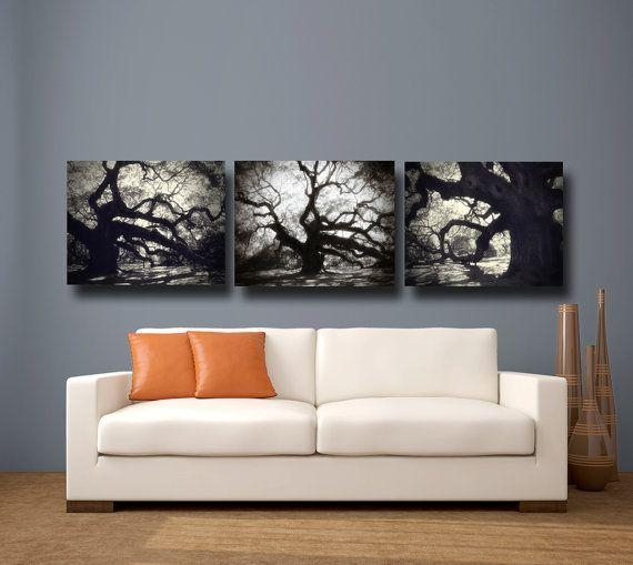 Tree Photography Black & White Canvas Art, Angel Oak Tree Throughout Black And White Canvas Wall Art (Image 15 of 20)