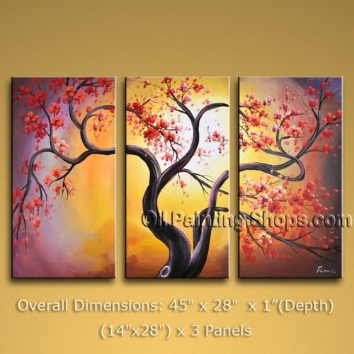 "Tri Panel Canvas Wall Art Contemporary Blossom Tree 45"" X 28 Within Canvas Wall Art Of Trees (Image 15 of 20)"