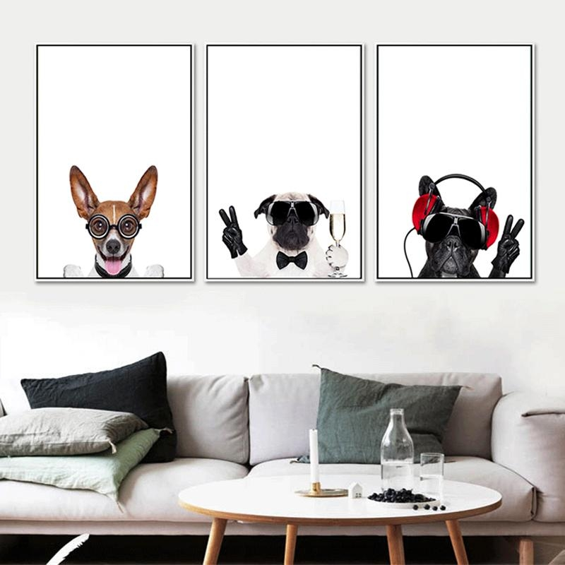 Triptych Canvas Art Lovely Pet Dogs Prints Nursery Kids Baby With Regard To Dogs Canvas Wall Art (Image 20 of 20)