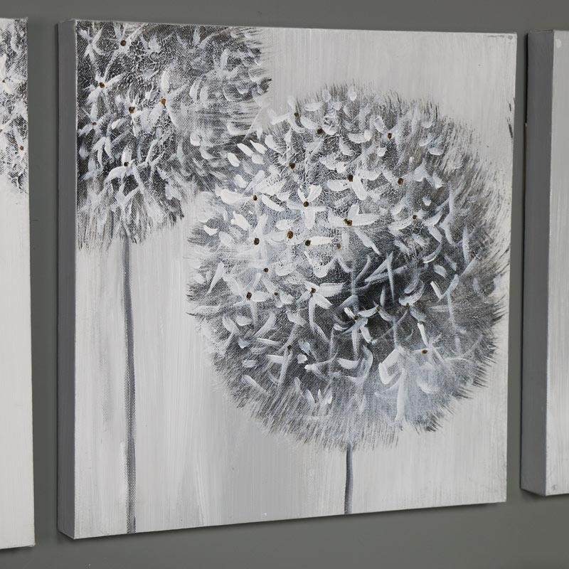 Triptych Wall Art Grey Flower Canvas Print – Windsor Browne Throughout Dandelion Canvas Wall Art (Image 17 of 20)