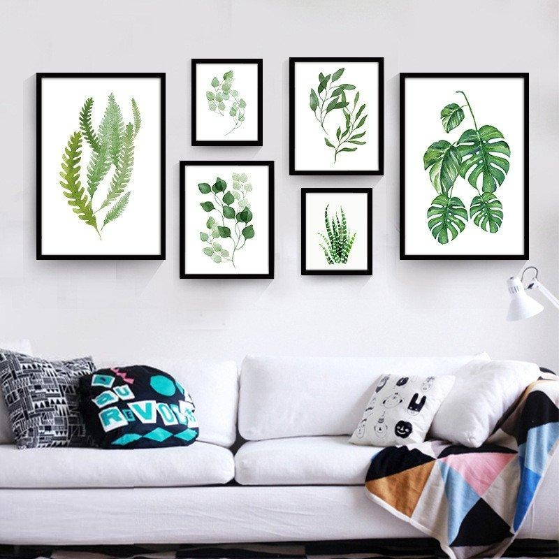 Tropical Leaf Wall Art | Modern Canvas Art Print Poster Painting Regarding Leaves Canvas Wall Art (View 8 of 20)
