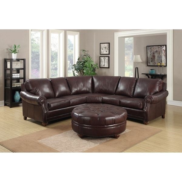 Troy Chestnut Brown Italian Leather Sectional Sofa And Ottoman In Leather Sectionals With Ottoman (Image 10 of 10)
