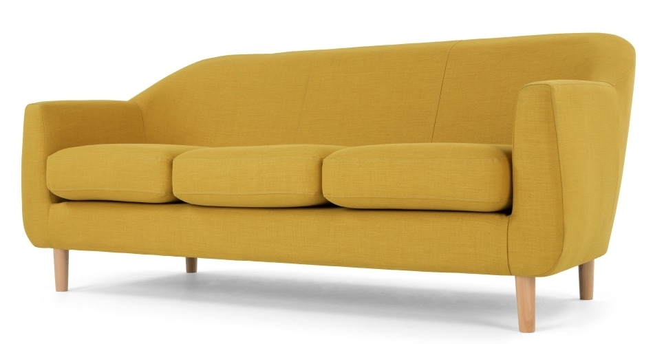 Tubby 3 Seater Sofa, Retro Yellow | Made Regarding Cheap Retro Sofas (Image 10 of 10)
