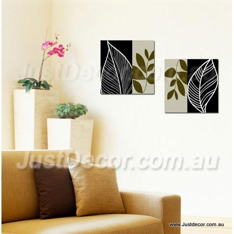 Two Piece Set Abstract Leaves Canvas Wall Art Canvas Art Printing Intended For Abstract Leaves Wall Art (Image 17 of 20)
