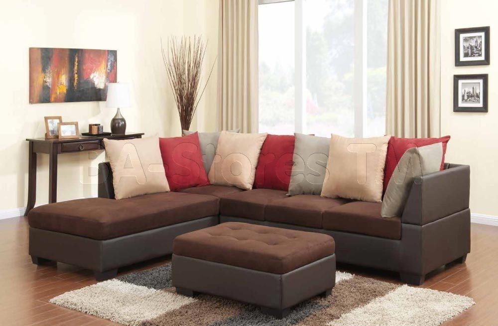 Two Tone Chocolate Microfiber Brown Sectional Sofa With Ottoman With Chocolate Brown Sectional Sofas (Image 10 of 10)