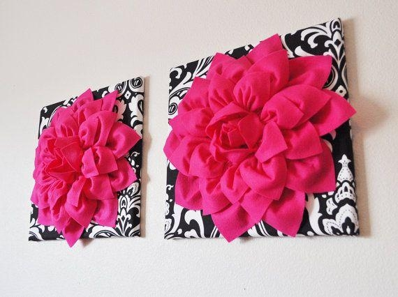 Two Wall Flowers  Hot Pink Dahlia Flowers On Black And White In Pink Canvas Wall Art (Image 11 of 20)