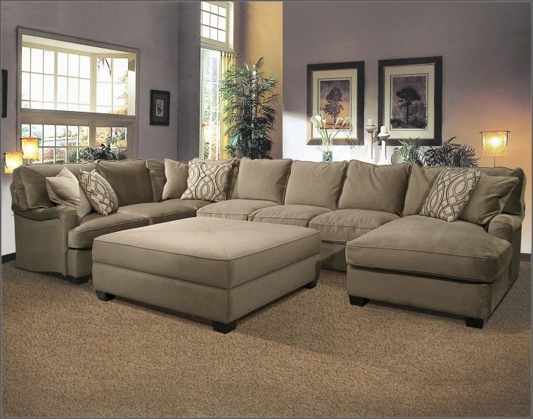 U Shaped Fabric Sectional Sofa With Large Ottoman On Super Elegant Throughout Sectional Couches With Large Ottoman (Photo 1 of 10)