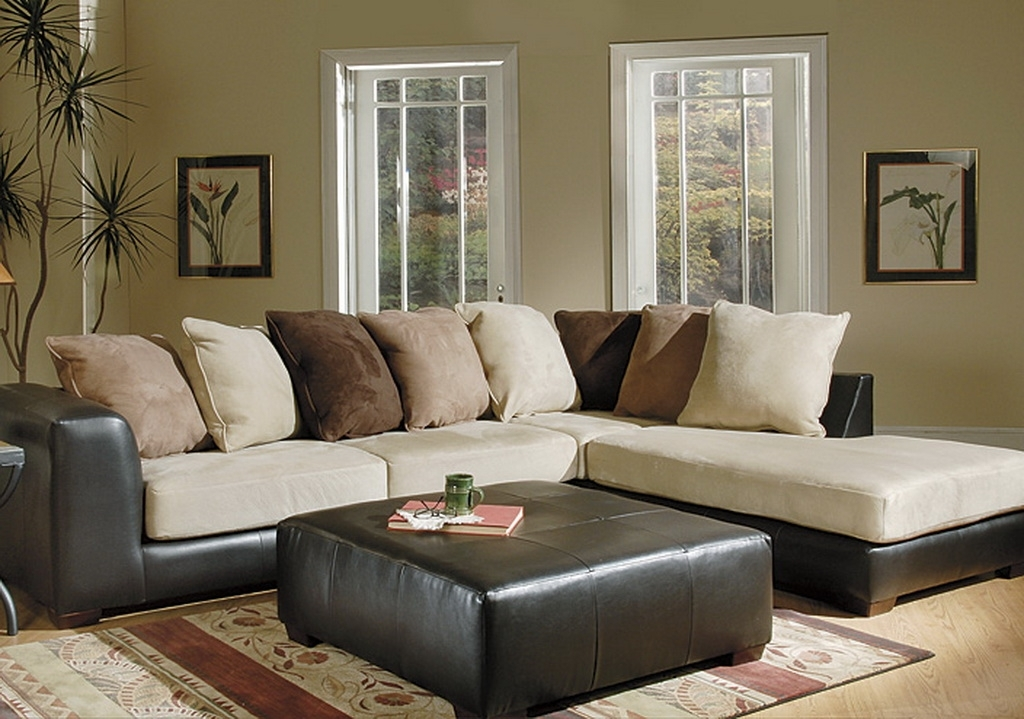 U222 Microfiber Sectional Contemporary Beige Brown U222 Microfiber For Leather And Suede Sectional Sofas (Photo 4 of 10)