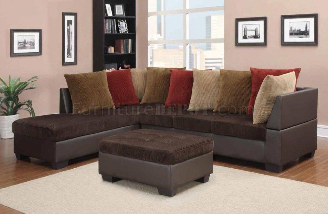 U88018 Sectional Sofa In Chocolate Corduroy Fabricglobal Regarding Chocolate Sectional Sofas (Image 10 of 10)