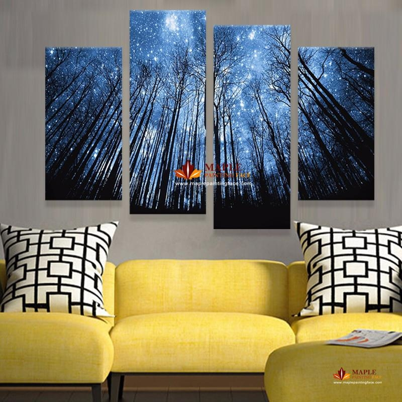 Unframe 4 Panels Modern Abstract Canvas Prints Artwork Beautiful Pertaining To Living Room Canvas Wall Art (Photo 11 of 20)