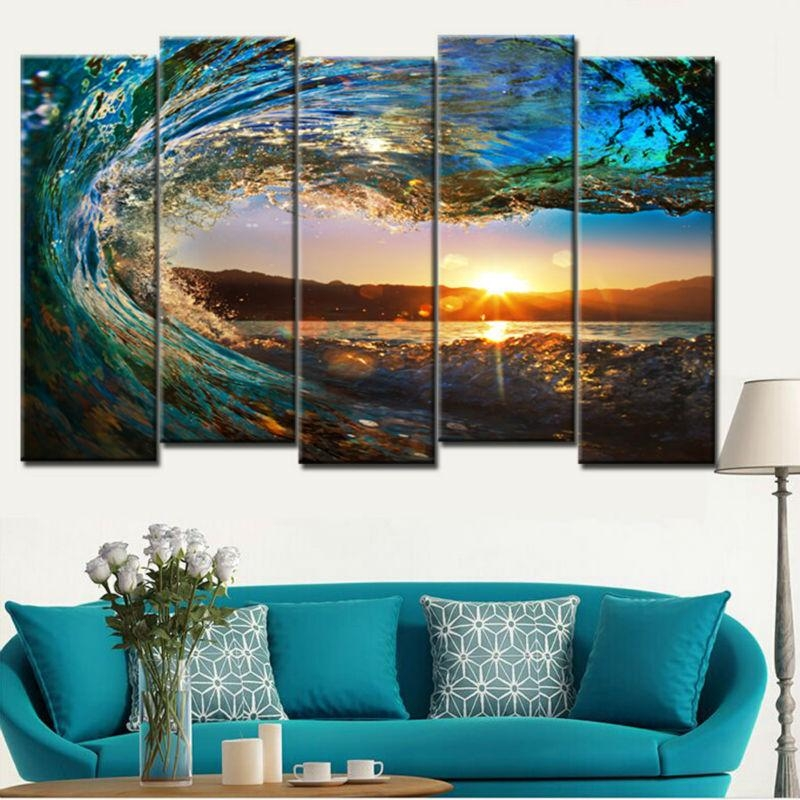 Unframe 5 Pieces Large Canvas Wall Art Huge Wave Painting Modern Intended For Ocean Canvas Wall Art (Image 19 of 20)
