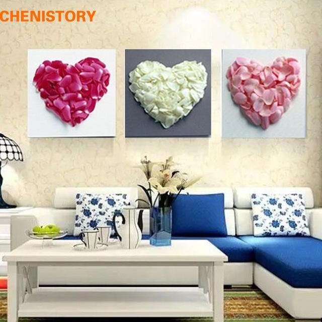 Unframed 3 Panel Love Heart Flower Modern Abstract Print Painting Throughout Hearts Canvas Wall Art (Image 19 of 20)