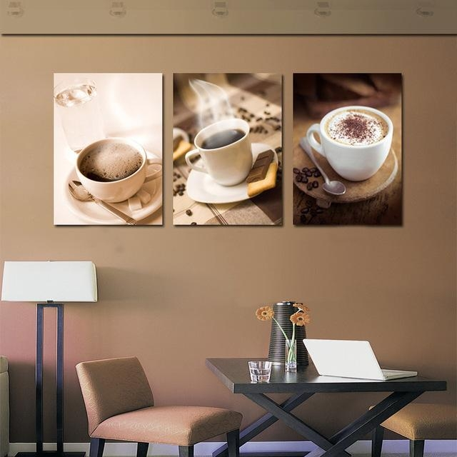 Unframed 3 Piece Fashion Home Decoration Hot Coffee Cup Painting For Coffee Canvas Wall Art (Image 18 of 20)