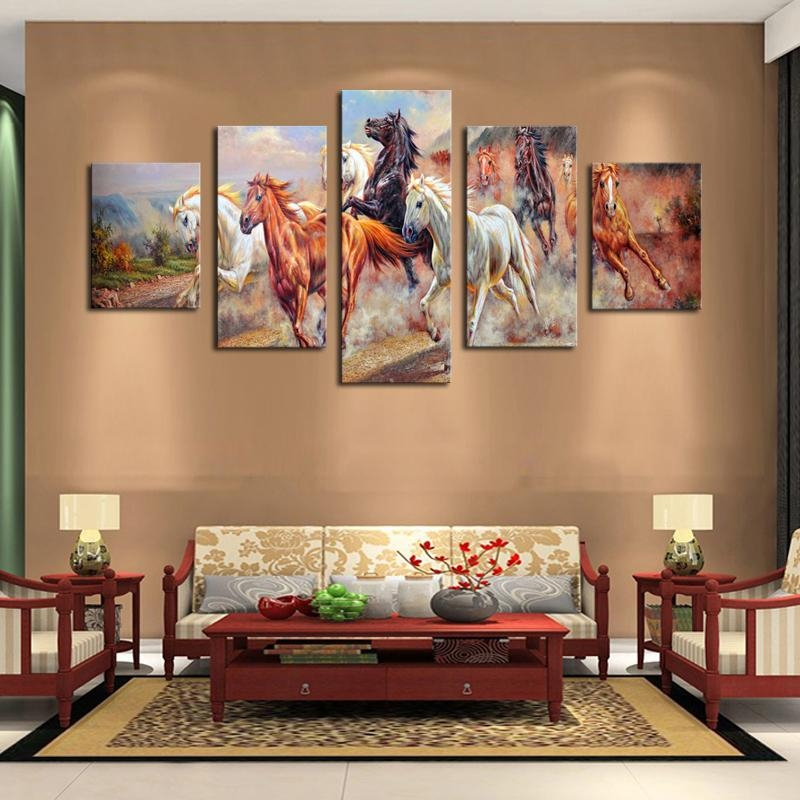 Unframed 5 Panels Canvas Print Painting Modern Running Horse Regarding Horses Canvas Wall Art (Image 14 of 20)