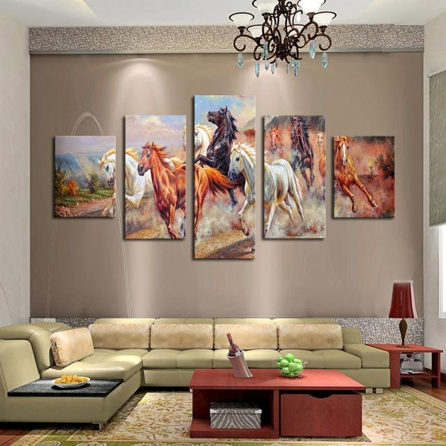 Unframed 5 Panels Canvas Print Painting Modern Running Horse Throughout Horses Canvas Wall Art (Image 15 of 20)