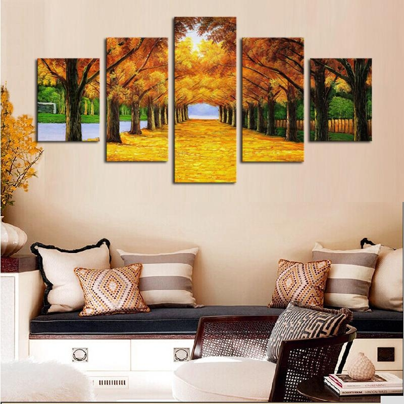 Unframed 5 Panels Nature Yellow Goldentrees Canvas Print Painting For Nature Canvas Wall Art (Image 15 of 20)
