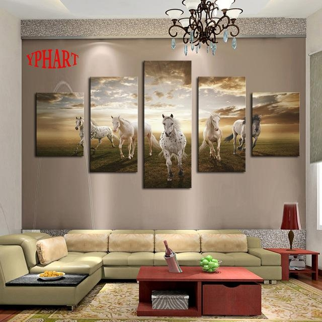 Unframed 5 Pcs High Quality Cheap Art Pictures Running Horse Large Throughout Large Framed Abstract Wall Art (Image 18 of 20)