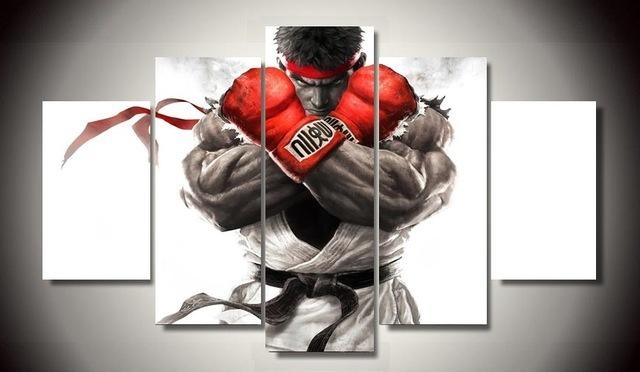 Unframed Printed Street Fighter Game 5 Piece Painting Wall Art With Gaming Canvas Wall Art (Image 15 of 20)