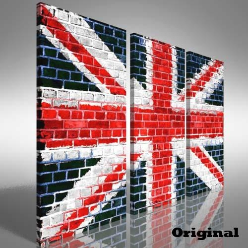 Union Jack Flag Brick Wall Treble Canvas Print Large Picture Wall Regarding Union Jack Canvas Wall Art (Photo 18 of 20)