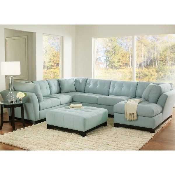 Unique Blue Sectional Sofa #4 Light Blue Suede Sectional Sofa With Regard To Blue Sectional Sofas (Image 9 of 10)